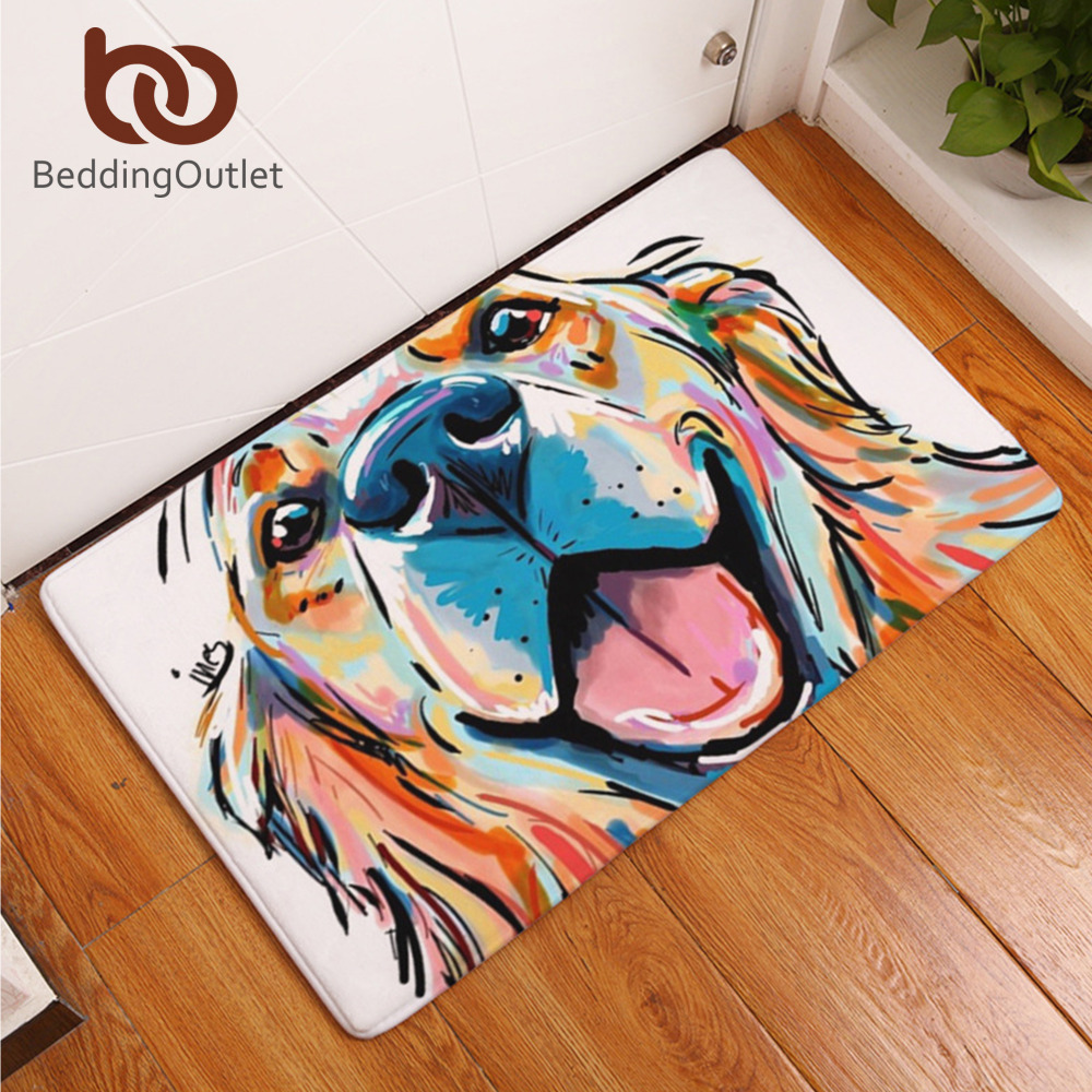Beddingoutlet dog print carpet anti slip floor mat animal for Paintings for kitchen area