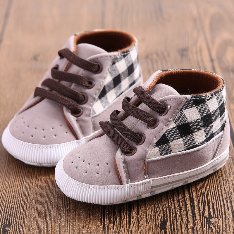 b32b18572e26 Toddler Infant Baby Boy Shoes Laces Casual Sneaker PU Plaid Soft Sole Crib  Shoes-in First Walkers from Mother   Kids on Aliexpress.com