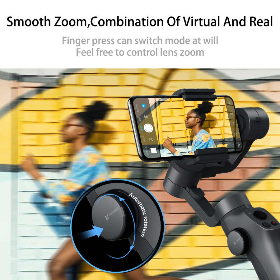 Funsnap Capture2 3 ejes cardán mano estabilizador para Smartphone Samsung Iphone X XR 8 7 Gopro Cámara acción EKEN 1 Kit de Gimbal