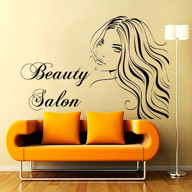 DCTOP Sexy Lady With Long Hair Wall Decals Beauty Salon Removable ...