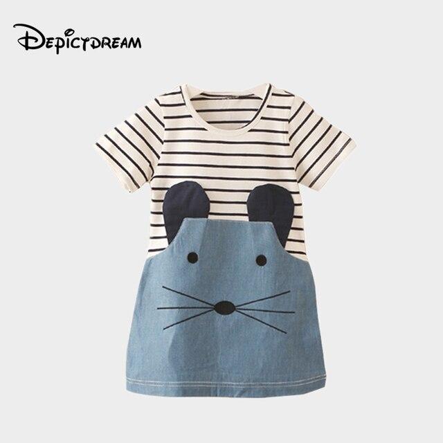 961c55fca22 Children s cartoon short-sleeved dress 2018 summer Korean version of the  new girls children s denim skirt tide