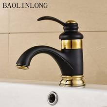 цена на Painting Black Brass Bathroom Basin Faucets Vanity Vessel Deck Mount Sinks Mixer Single Bath Faucet Tap