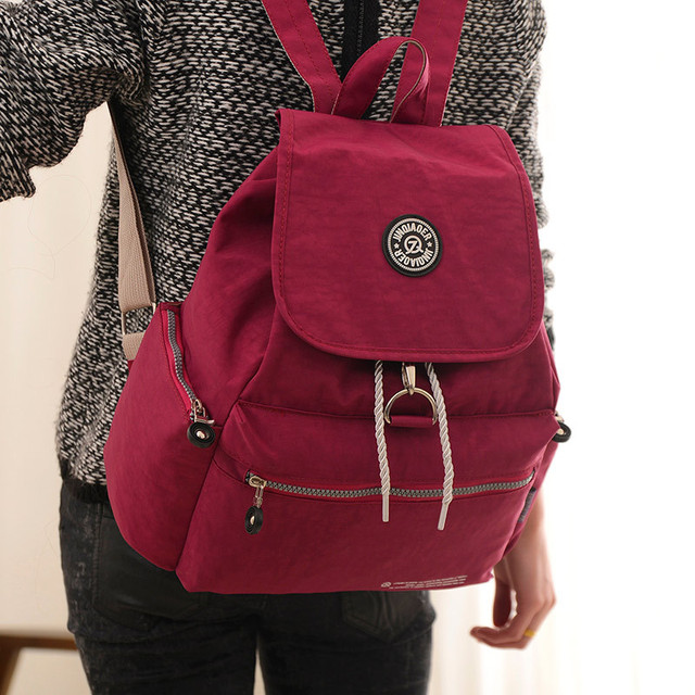 New Casual Women Backpack Waterproof Nylon 10 Colors Girl Lady ...