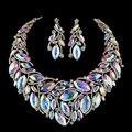 Cristal AB cor Colar Brincos Mulheres Conjunto De Jóias de Noiva Para As Noivas Festa de Casamento Marquise strass Acessórios de jóias