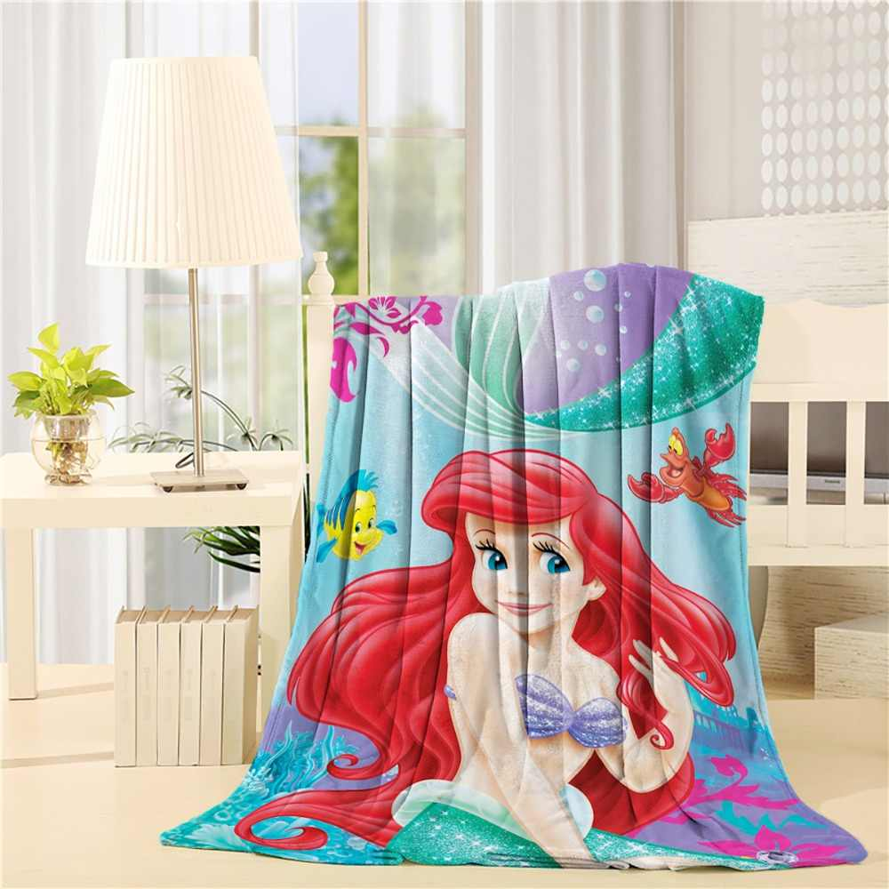 Ariel Little Mermaid Plush Sherpa Twin Size Blanket - Seaside Pirncess