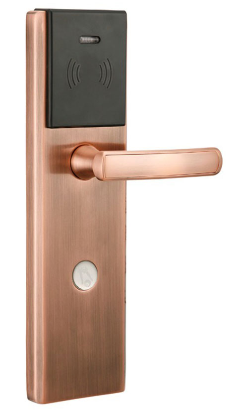 hotel lock system,RFID T5577 hotel lock,Copper color,a test T5577 card ,Zinc alloy forging,sn:CA-8035 rfid t5577 hotel lock stainless steel material gold silver color a test t5577 card sn ca 8006
