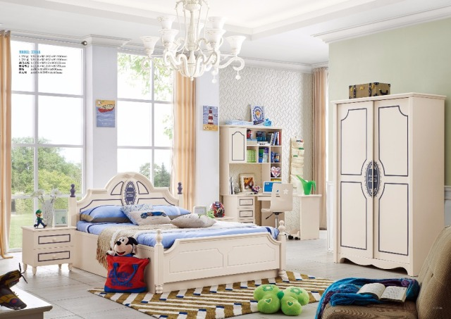 Jlmf3316a Modern Children Bedroom Furniture Set Queen Size Bed Wardrobe Study Desk Bedside Table