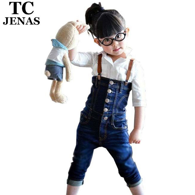 TC  2015 kid jeans jumpsuits for girls children clothing free sipping lacing tube top bib pants top selling girl jeans jumpsuit