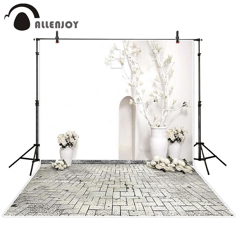 e43e7fe4e Allenjoy التصوير خلفية زهرة بيضاء الأبيض الجدران الأبيض وعاء الخلفيات زفاف  الأميرة الفينيل صورة المتصل 10x20