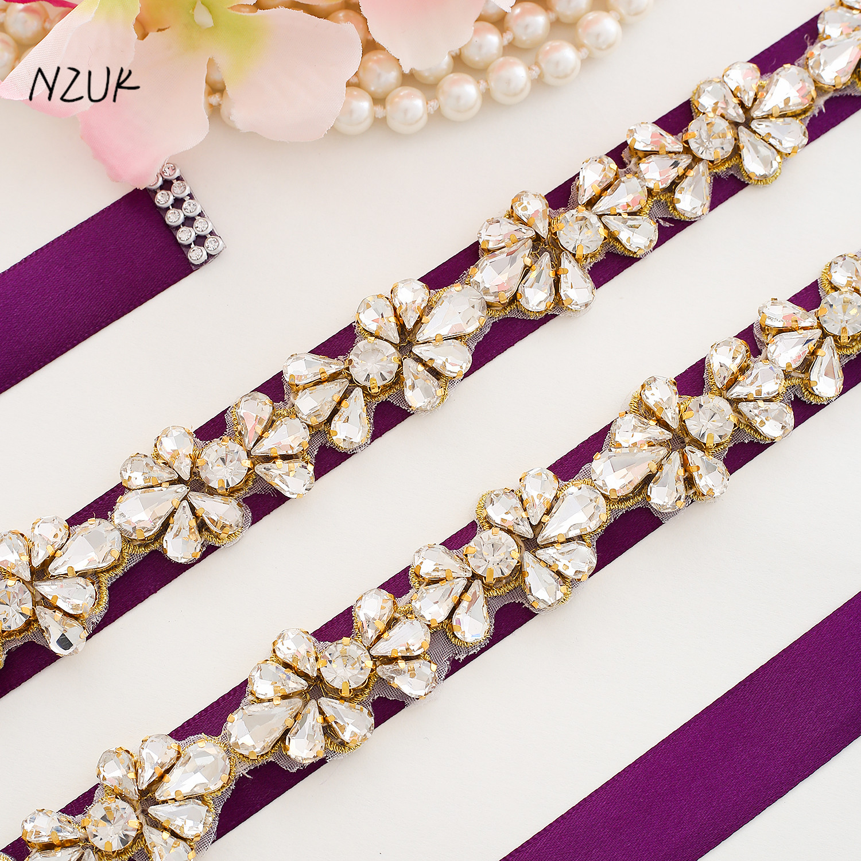 Thin Wedding Dress Belt Crystal Flower Bridal Belt Gold Rhinestones Bridal Sash For Women Formal DressY176G