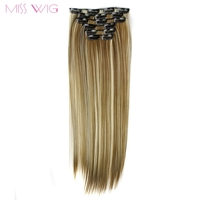 MISS WIG 15Colors Available 24Inchs 16 Clips In Hair Extensions Straight Hairstyle Synthetic Hairpieces 140g False