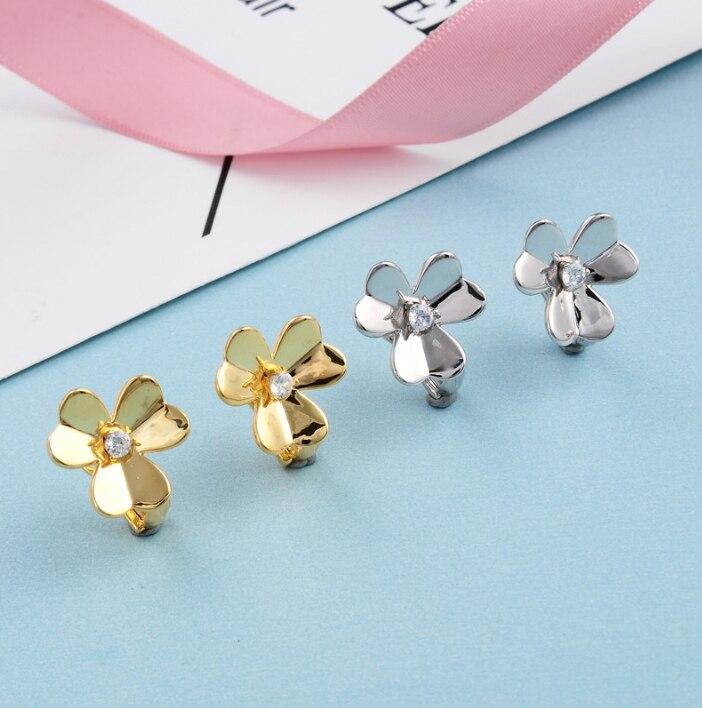 Pur 925 bijoux en argent Sterling pour les femmes couleur or boucles d'oreilles fleur boucles d'oreilles chance trèfle conception de mariage boucles d'oreilles