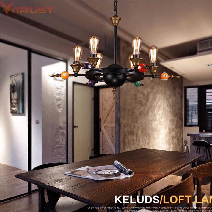Industrielle Fer Lustres Éclairage Café Bar Boutique Suspension Lampes Avize LED Lampadari LOFT Lustre Éclairage Noir Edison Ampoule