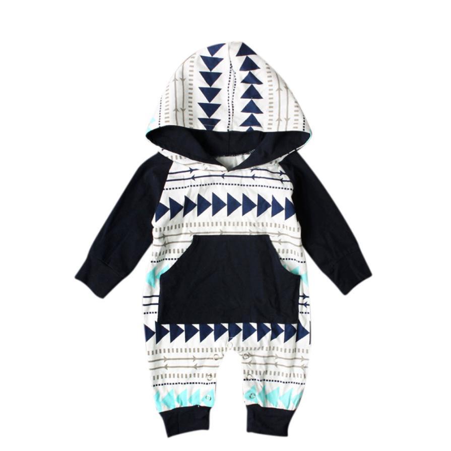 ARLONEET Newborn Baby Boy Clothes Set Geometry Print roupas de bebe menino Hooded Romper Jumpsuit Outfits l1208