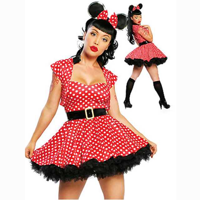 2018 Women Sexy Adult Minnie Mouse dress Costume Halloween Fancy Dress Cosplay with Headdress New Cute