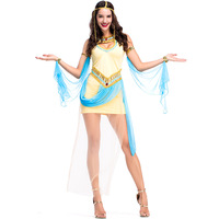 Sexy Golden Womens Cleopatra Costume Cosplay Egyptian Princess Queen Goddess Halloween Costume Party Wear CS8142