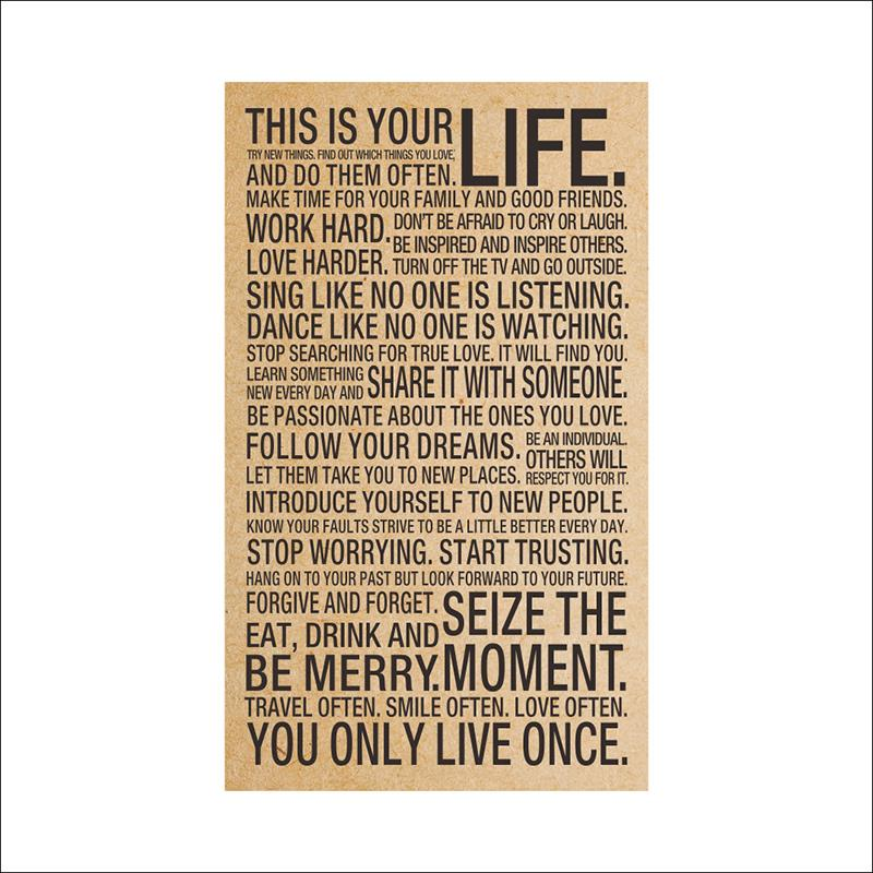 44.5*73.5cm Motivational Inspirational Kraft Retro poster This Is Your Life print For Boys Girls Gift or Home School Decoration