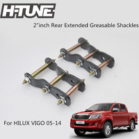 H TUNE Accesorios 4x4 2 Rear Suspension Spring Extended Greasable Shackles Kits For VIGO 05 14