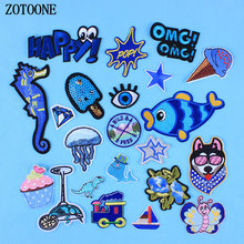 ZOTOONE Iron On Transfer For Clothing Applique Embroidery Rose Flower Patches Dog Letter Star Cake Dinosaur Sewing Patch