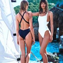 Sexy Trikini Swim Suits New Trikinis For Women 2016 Swimwear Cross Wrap Black White Bodysuits High Cut One Piece Swimsuits
