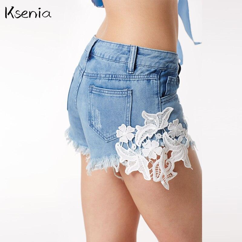 Ksenia Fashion Brand Summer Sexy high waist hot Shorts 2017 Women Lace denim shorts Casual Harajuku Club Hole Jeans