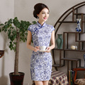 Women Retro Slim Summer Traditional Chinese Dress Cheongsam Qi Pao Flower Printing Short Cheongsams