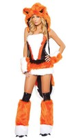 Free Shipping New Arrival Orange Fur Sexy Fox Cosplay Women Halloween Costumes Sexy Fancy Dress Sexy