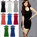 HOT SELL Sexy Women's Candy Color Vest Dress Long T-Shirt Sleeveless Tank Top Casual Wholesale FREE SHIP