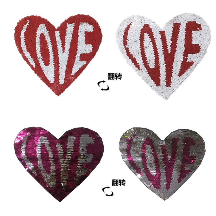 Fashion Accessories Foreign Trade Popular Discolored Pearl Embroidery Cloth Flip-flop Sequins Embroidery Patch Peach Heart Spot