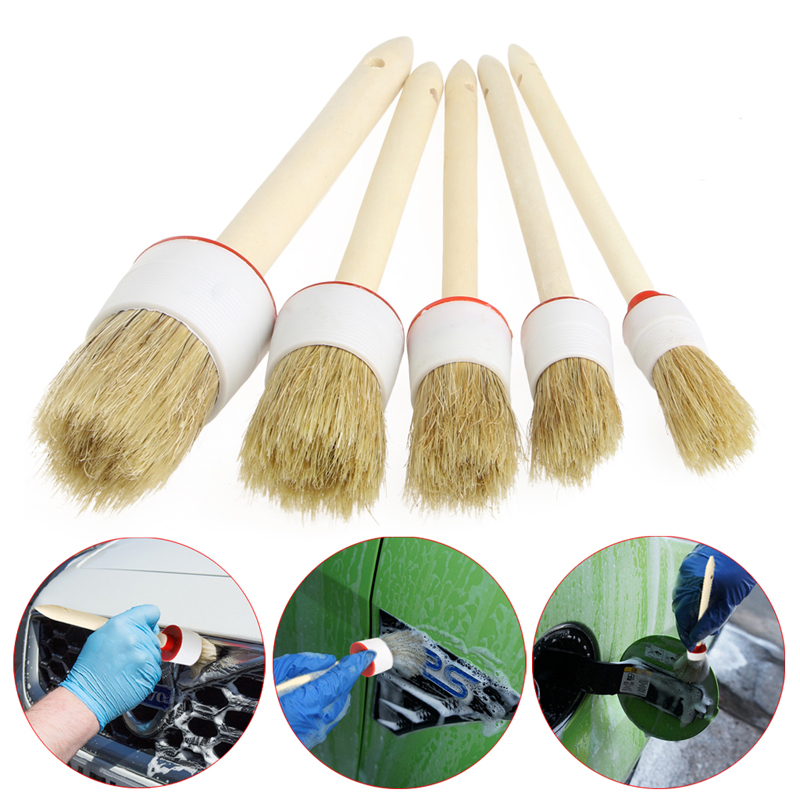 5x Car Cleaning Soft Detailing Brushes Dash Trim Seats Wheels Wood Handle Auto Interior Clean Maintenance