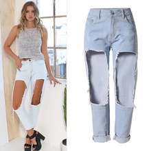 Blue Boy Friend Jeans Ripped Jeans for Women 2016 Summer Style Loose Holes Staight Crop Jeans