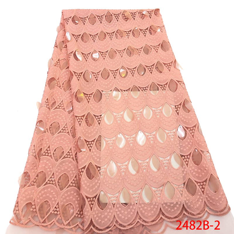 Latest African Lace Fabric with Sequins French Mesh Lace Fabrics High Quality 2019 Nigerian Lace Fabric