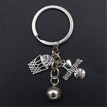 WKOUD 1pc Metal I Love Basketball Charm Basketry & Keychain DIY Creative Sports Handmade Jewelry Key chain