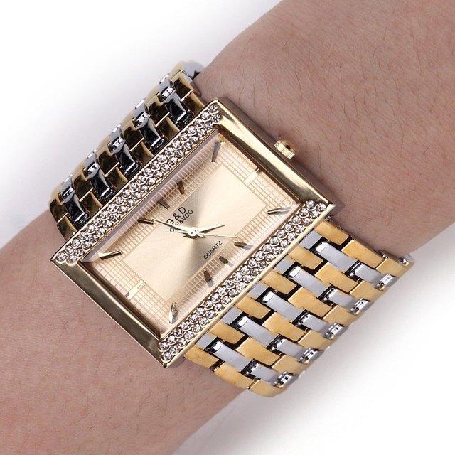Women's Square Case Diamond Gold Steel Luxury Quartz Bracelet Watch 2016 Quartz
