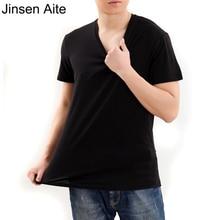 Jinsen Aite New Summer Short Sleeve T-shirt Men Lycra Cotton Solid V-Neck Slim Shirts Men Clothes Tee Plus Size L-6XL Tops JS152