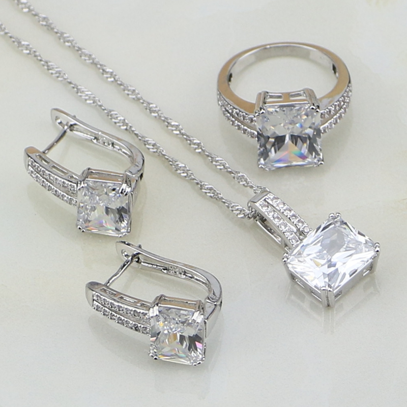 Unique Square Shaped White Cubic Zirconia 925 Silver