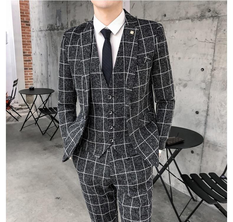 Fashion Black Plaid Stripe Men Slim Fit Business Suits Men Custom Made 3 Pieces Formal Wedding Tuxedos Suits Trajes De Novio