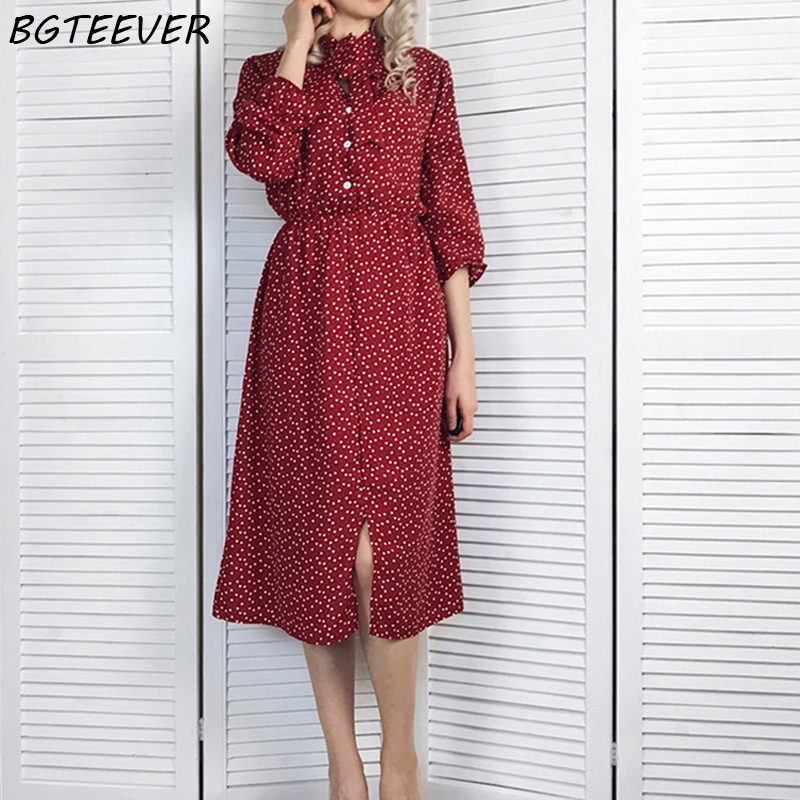 a865661db562683 BGTEEVER элегантный воротник-стойка в горошек шифоновое женское платье с  расклешенными рукавами с разрезом сбоку