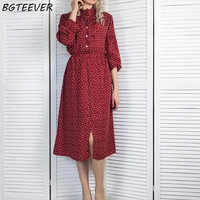 BGTEEVER Elegant Stand Collar Polka Dot Women Dress Flare Sleeve Side Split Female Dress 2019 Autumn Women Midi Vestidos