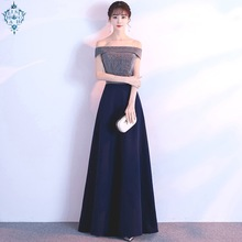Ameision Evening Dress Elegant sexy Slim Floor length Formal Gown Sexy Boat Neck Off shoulder Shining Long evening dresses