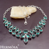 Hermosa Queen Design NEW Natural Green Topaz925 Sterling Silver Women Ladies Jewelry Charms Necklaces 20 Inch Free Shipping