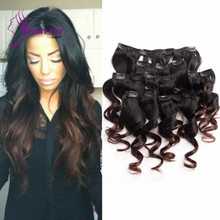 Spring Curl Clip in Hair Extensions Ombre color 1b/4 7pcs/lot In Stock total 100g Peruvian virgin hair clip in Extensions
