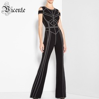 Free Shipping 2018 New Chic Elegant Geometric Sexy Off The Shoulder O Neck Wholesale Celebrity Party Bandage Jumpsuit