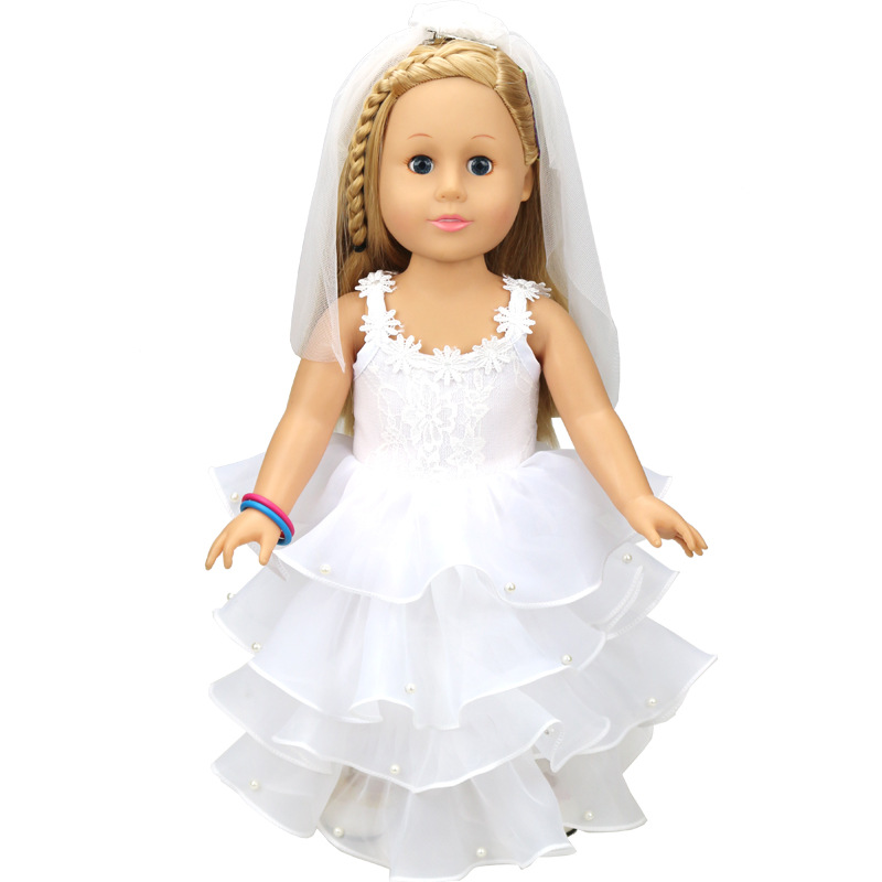 Fashion American Girl Doll Wedding Dress for 18 Inch Dolls White Dresses with Scarf for Girls Doll Colthes Accessories