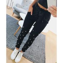ФОТО 2018 new ol high waist harem pants women summer style pearl beaded casual pants female trousers ws6403a