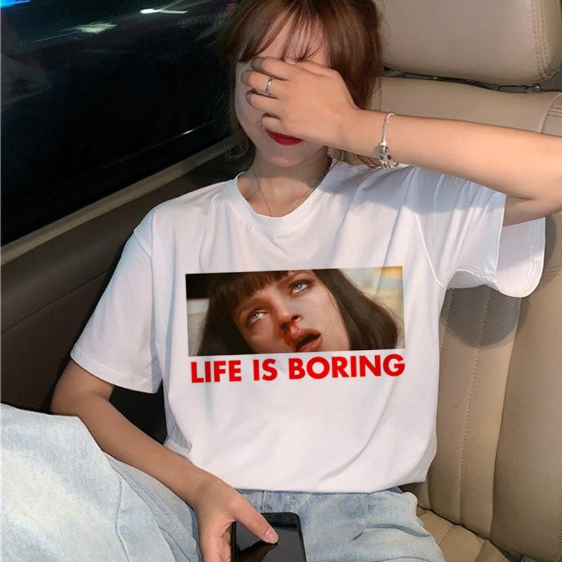 New Pulp Fiction Movie T Shirt Women Harajuku Ullzang 90s Korean T-shirt Aesthetic Funny Print Tshirt Graphic Top Tees Female 10