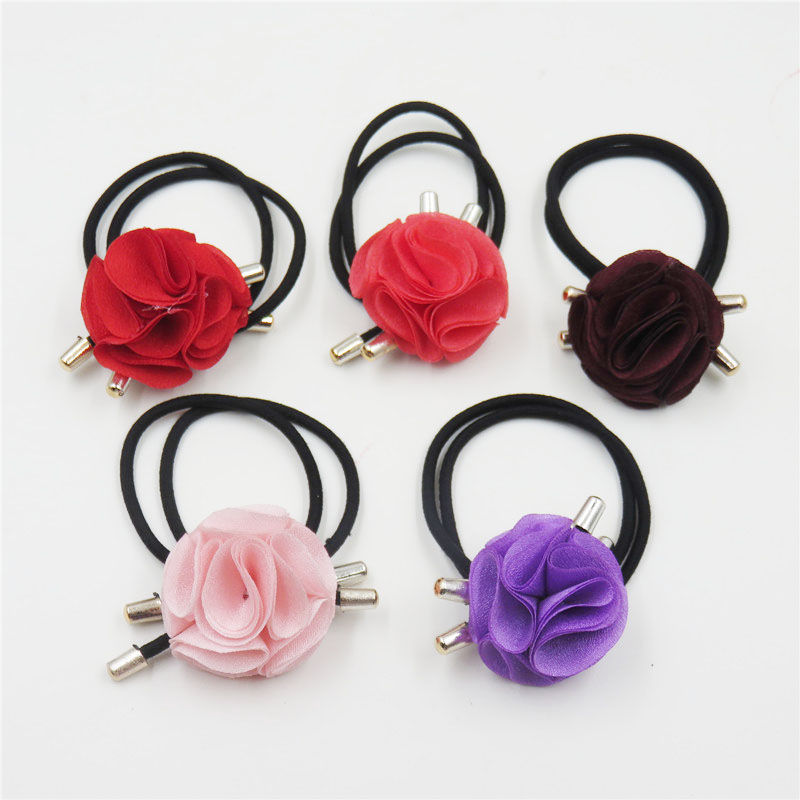 10PCS/LOT Big Cloth Flower Elastic Hair Bands For Girl Bohemian Headband Scrunchy Korean Fashion Kids Hair Accessories For Women