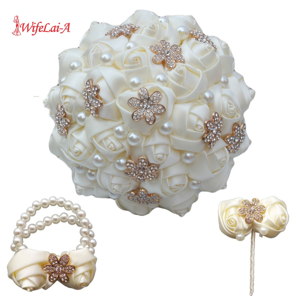 (Wrist Flower And Boutonniere) Ivory Simulation Rose Ivory Wedding Bridal Bouquet Golden Diamond Wedding Bouquet Set  W242-T