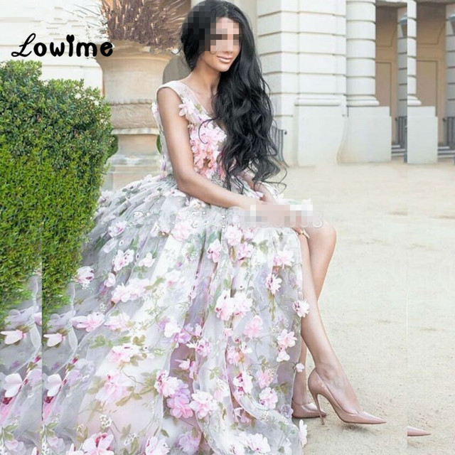 Sexy Long Pink Floral formal Prom Dress Puffy Indian Mother Daughter ...
