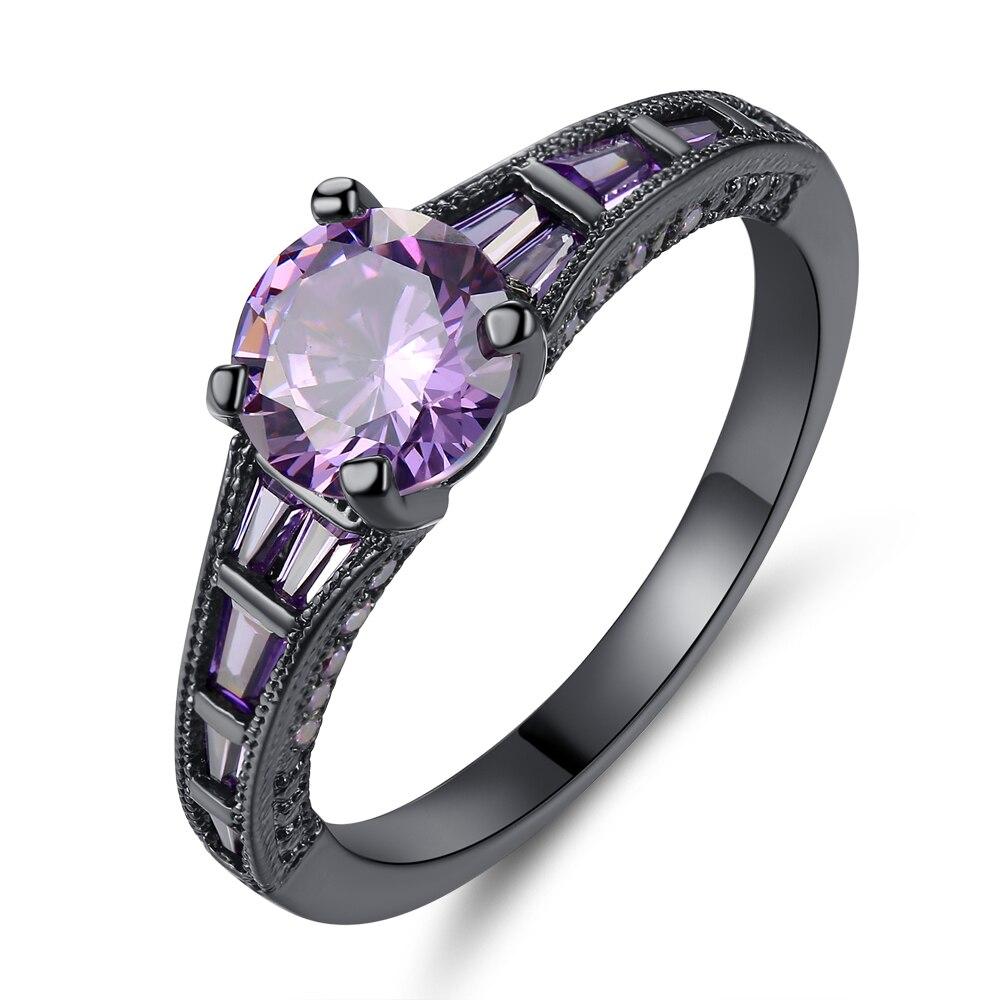 Cinily Zircon Jewelry Ring-Size Purple-Stone Wedding-Gift Gold-Color Black Fashion Women
